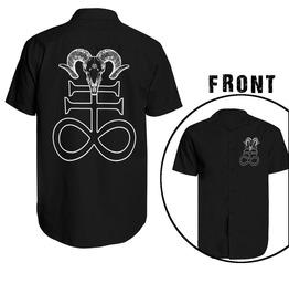 16a5f456355c Gothic Satanic Short Sleeve Men Shirt Baphomet Occult Pentagram Gothic