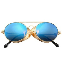's Round Shaped Luxury Anti- Glare Side Shield Steampunk Sunglasses