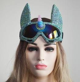 Rhinestone Holographic Unicorn Burning Man Goggle Festival Mask