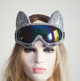 Steampunk Punk Cybergoth Silver Gold Rhinestone Holographic Cat Burning Man Goggle Festival Mask