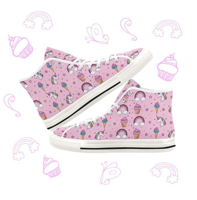 99207559caae0 Kawaii Unicorn and Rainbow Pastel Goth Pink Canvas Shoes Yami Kawaii Ddlg