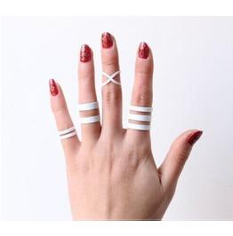 Dark Forest White Punk Rings Set Womens Accessories