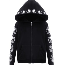 Dark Forest Moon Print With Pockets Casual Black Hoodie Womens Jacket