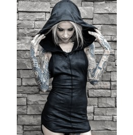 Dark Forest Chic Black Bodycon Hoodie Mini Womens Dress