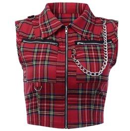 Dark Forest Punk Zipper Chain Plaid Red Womens Crop Top