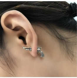 S 925 Sterling Silver Stereo Miniature Pistol Earrings