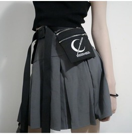 Womens goth irregular big pocket pleated skirt with leg ring rebelsmarket