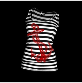 Women's Anchors Aweigh Tank Black & White