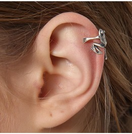 New Non-perforated Sterling Silver Frog Ear Clips