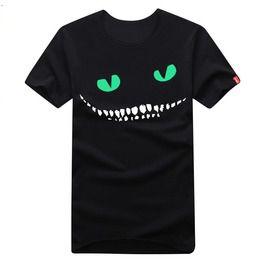 Luminous Cheshire Cat Boy Men Black T Shirt Tee