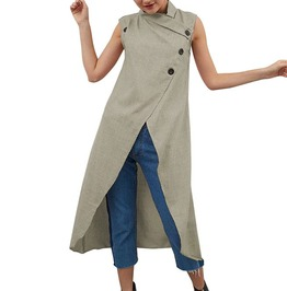 Women retro asymmetrical sleeveless button down loose split long shirt rebelsmarket
