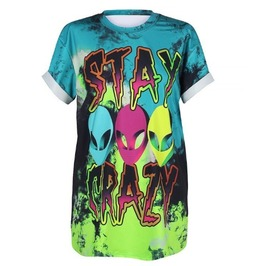 Dark Forest Cool 3D Stay Crazy Alien Print Graphic Womens Tees
