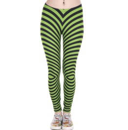 14750f15279846 Dark Forest Sexy High Quality Black and Green Stripes Womens Leggings