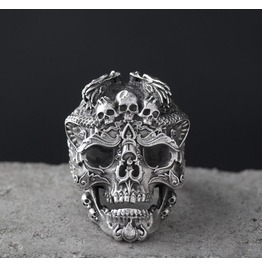 S925 Silver Vintage Steam Punk Skull Ring