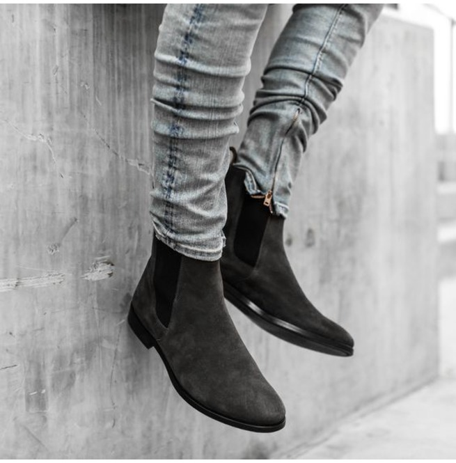 Mens Chelsea Handmade High Ankle Suede Leather Boots Genuine//Suede Leather Shoes