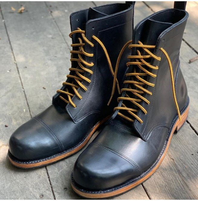 Handmade Military Style Boots, Men Combat Leather Boots, Black Dress Boot