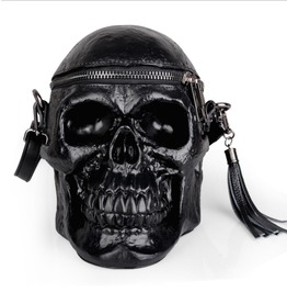Personality skull black shoulder bag silicone messenger bag rebelsmarket