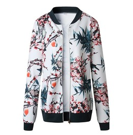 Women's Retro Floral Print Zipper Up Casual Bomber Jacket