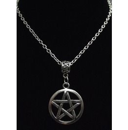 Gothic Witch Pagan Halloween Silver Tone Metal Pentacle Necklace