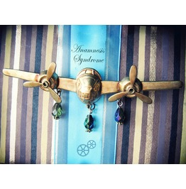1 Sepia Airplane Moving Propellers Steampunk And Victorian Brooch