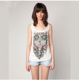 Owl Pattern Women T Shirt Tank Tops