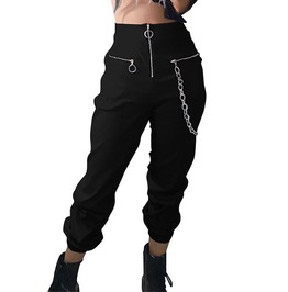 Women's Gothic Zipper Fly High Waist Metal Chain Solid Black Pants
