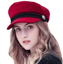 Button Rope Detailed Women's French Style Woolen Hat