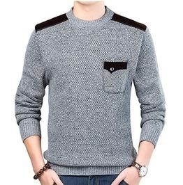 Men's Pocket Design Long Sleeve Slim Fit O-Neck Knitted Sweater Pullover
