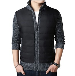 Men's Slim Fit Zipper Up Knitted Patchwork Quilted Jacket Coat Cardigan