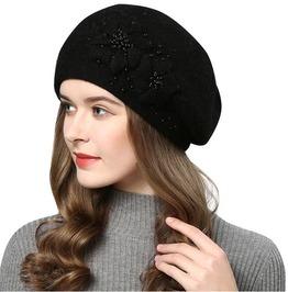 Rhinestone Embroidered Flower Design Women's Knitted Cotton Beanie Hat