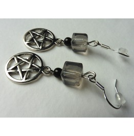Spell Pentacle Earrings, Goth, Wiccan, Elven, Celt, Witchcraft, Witch,