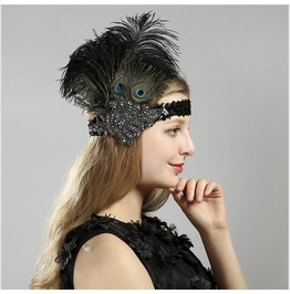 Vintage Feather Sequined Hair Band Banquet Dress Accessories