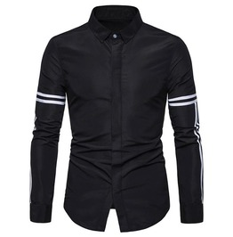 Mens long sleeve side track turn down collar single breasted cotton shirt rebelsmarket