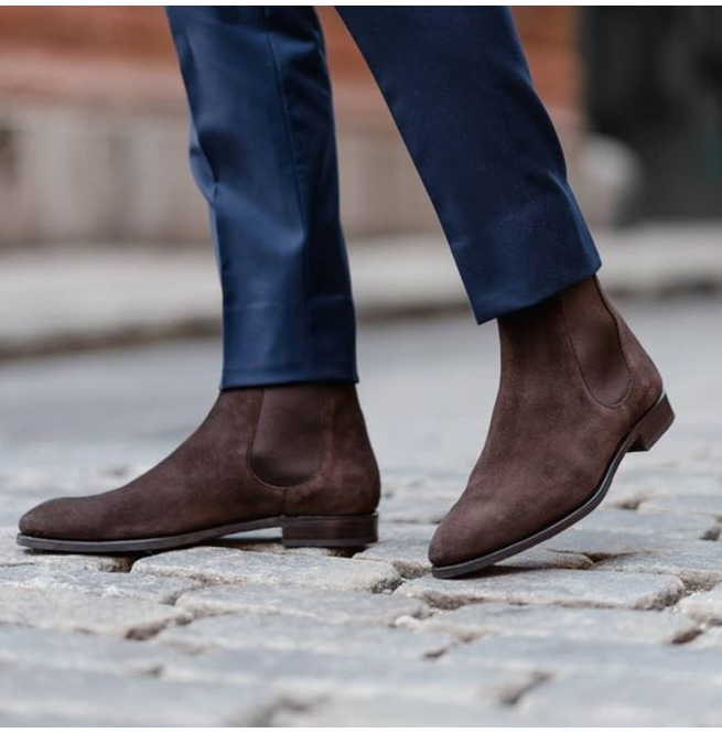 Handmade Men Brown Suede Chelsea Boots, Mens Suede Ankle Boots, Mens Boots