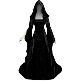 Hooded halloween vampire witch medieval masquerade womens maxi dress rebelsmarket