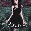 Goth grunge black crescent moon star print spaghetti strap backless dress rebelsmarket