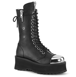 Black Vegan Leather Festival Patent Lace Up Platform Boots