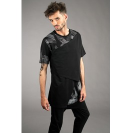New in mens asymmetrical triple layered t shirt with hand printed detail rebelsmarket