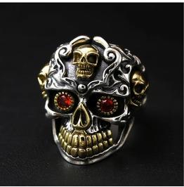 S 925 Sterling Silver Vintage Ring Skull Index Finger Ring