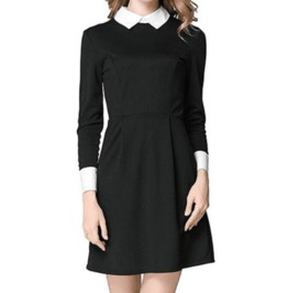 Dark Forest Casual Longsleeve White Collar Black Womens Dress