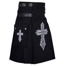 Celtic Sword Embroidery Pattern - Black Cotton Utility Kilt For Men