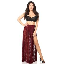 Thigh High Split Floral Lace Maxi Festival Skirt