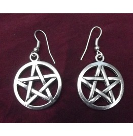 Gothic Witch Pagan Silver Pentagram Halloween Earrings