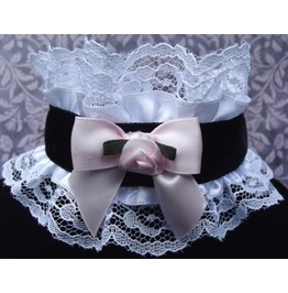 Gothic Lolita Black Velvet Lace Satin Rose Bow Choker