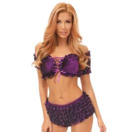 Purple Velvet Ruffle Panty