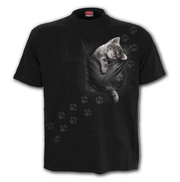 Pocket kitten front print t shirt black spiral direct rebelsmarket