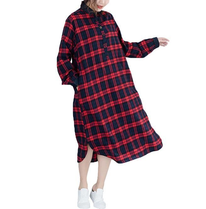 Plus Size Checkered Buttons Slit Turn Down Collar Pockets Loose Shirt Dress