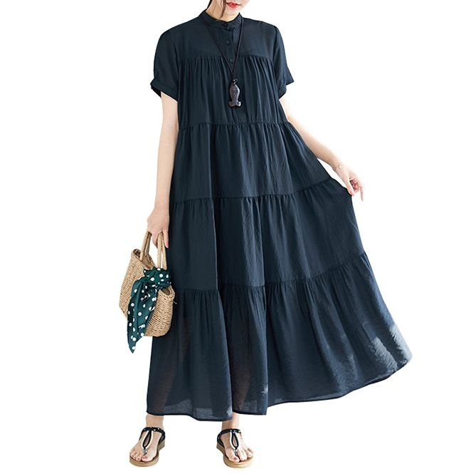 Plus Size Stand Collar Solid Color Pleated Draped Buttons Cotton Maxi Dress