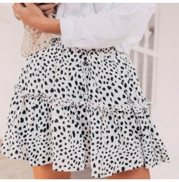 Dark Forest Sexy Summer Boho Mini Ruffle Leopard Women Skirts