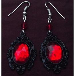Gothic Steampunk Victorian Red Jewel Drop Bead Earrings